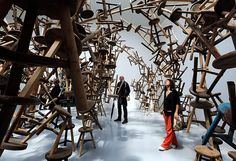 Venice biennale: Visitors looks at Ai Wei Wei's installation Bang at the German pavilion