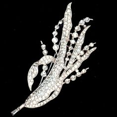 Trifari 'Alfred Spaney' Pave Floral Spray Pin