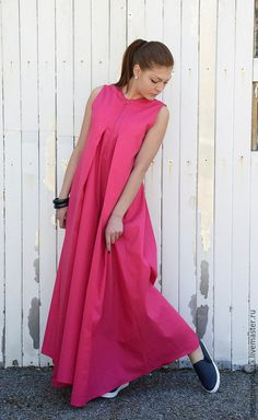 Купить МОДНОЕ РОЗОВОЕ ПЛАТЬЕ В ПОЛ - фуксия, платье, платье летнее, Платье нарядное