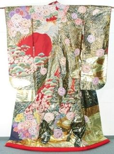 This is a supreme contemporary uchikake.  Phoenix and flowers are elaborately sagara embroidered all over it!