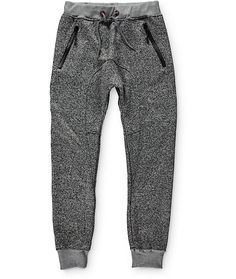 Update your jogger style with a light heather grey colorway with a gusseted drop crotch and two waterproof zipper pockets.