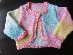 Handmade knitted baby girls multi coloured bolero by BulldogKnits