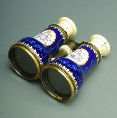 Opera glasses: blue with floral cameos on white and gold France, late 19th century