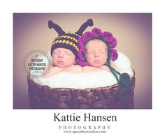 newborn bee and flower twin hats photography by WeeBeePhotoProps, $40.00