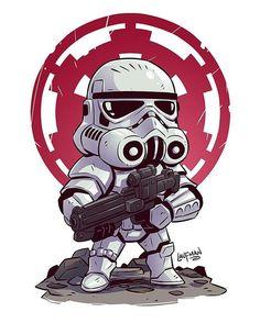 Chibi Stormtrooper Art by Derek Laufman -----------------------------------. Star Wars Fan Art, Star Trek, Star Wars Cartoon, Cartoon Art, Darth Vader Cartoon, Star Wars Karikatur, Tableau Star Wars, Sketch Style, Chibi Marvel