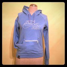 Nike hoodie lightweight S Cute, lightweight Nike hoodie. Multicolor AIR logo inside hood. Zip pocket on top of hoodie pocket. Rarely worn, given as gift and was always a little snug Nike Tops Sweatshirts & Hoodies