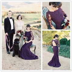 Grape Purple Lace Bridesmaid Dresses with High Neck Backless Half Sleeve Mermaid Stunning UK Formal Gowns Maid of Honor Dress