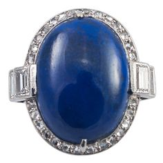 Art Deco Lapis Lazuli Diamond Ring | From a unique collection of vintage cocktail rings at http://www.1stdibs.com/jewelry/rings/cocktail-rings/