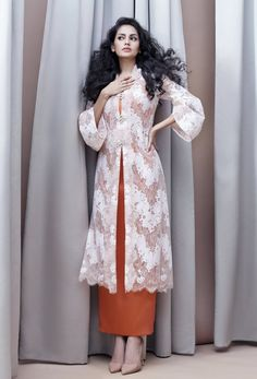 Discover recipes, home ideas, style inspiration and other ideas to try. Kebaya Lace, Kebaya Hijab, Kebaya Dress, Lace Saree, Lace Dress With Sleeves, Lace Dress Black, White Lace, Red Lace, Lace Skirt