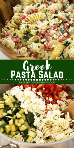 This delicious cold pasta salad recipe is full of flavor from bell pepper, cucumber, lemon, and dill! Top this cold pasta salad with a creamy Greek yogurt dressing and it's going to be your new favorite pasta salad for BBQ's, potlucks and parties! #salad #pasta #pastasalad #coldpastasalad #greek #yogurt #BBQ #potluck #recipe #easy #easyrecipe #juliesatsandtreats via @julieseats