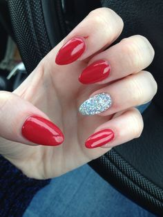 Red and glitter nails