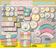 Pink Gold Carousel Party Package-Printable by ItsAllAboutKidz