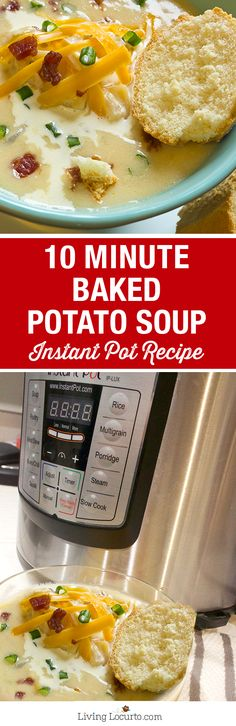 10 Minute Baked Potato Soup is the perfect quick and easy hearty meal! With a pressure cooker like the Instant Pot, you'll have dinner in minutes. Easy Baked Potato Soup, Instant Pot Potato Soup Recipe, Potato Soup Recipes, Quick Soup Recipes, Cream Of Potato Soup, Instant Pot Easy Recipes, Potato Meals, Easy Instapot Recipes, Fast Crock Pot Recipes