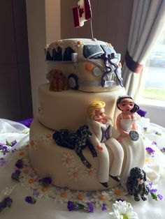 Wedding cake request by a friend of a friend. This cake nearly killed me and has put me off making cakes for some time. LOL