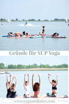 Schon einmal SUP Yoga probiert? Dabei wird die Yogamatte gegen das Stand Up Paddleboard getauscht. Ideal im Sommer. Gut für Konzentration, Koordination, Balance und macht jede Menge Spaß. Ich verrate dir meine Gründe, warum du es unbedingt probieren solltest. Yoga Beginners, Pranayama, Yoga Inspiration, Stand Up Paddle Board, Meditation, Sup Yoga, Yoga Posen, Aerial Yoga, Fitness