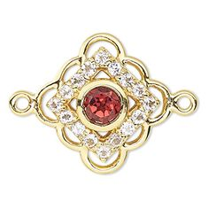 """Link, garnet / white topaz (natural) / """"vermeil,"""" 15x15mm diamond with cutouts. Sold individually."""