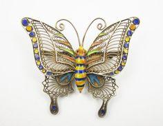 Vintage Silver Enamel Butterfly Pin Gold Wash Filigree Brooch