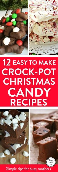 12 delicious and easy to make Crock-Pot slow cooker Christmas candy recipes that you will love! All are simple to make, there's chocolate, fudge, Christmas crack, peppermint clusters and more. #CrockPot #CrockPotRecipes #CrockPotCandy #SlowCookerCandy #SlowCooker #SlowCookerRecipes #Christmas #ChristmasCandy #Christmas2017 #ChristmasChocolate