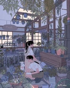 Caring for plants couple cartoon, love drawings, couple drawings, art drawings, minho Cute Couple Drawings, Cute Couple Art, Love Drawings, Art Drawings, Pencil Drawings, Comic Anime, Manga Anime, Anime Art, Couple Illustration