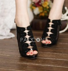 2013 Super-High Heels Roman Fish Head Diamond Sandals Women