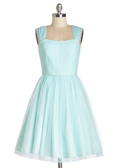 Happily Ever Laughter Dress - Blue, Solid, Special Occasion, Prom, Wedding, Bridesmaid, Vintage Inspired, 50s, Fit  Flare, Sleeveless, Bett...