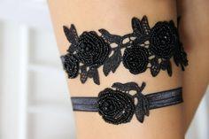 BLACK ROSES GARTER SET is a black beaded lace garter set by honeypie bridal
