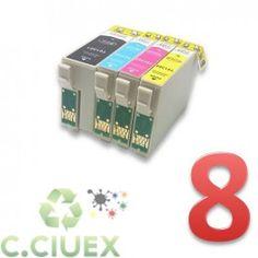 PACK 8 CARTUCHOS COMPATIBLES EPSON T1301/2/3/4 A ELEGIR COLOR