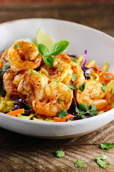 Thai Spiced Shrimp with Vegetable Noodles are sweet, spicy and so flavorful!