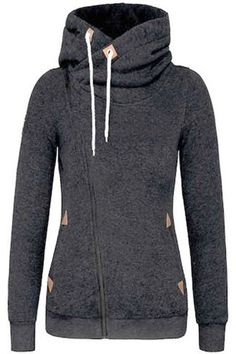 Stylish Thick Hooded Skew Zippered Long Sleeve Hoodie For Women