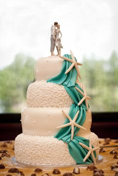 Wedding Cake for Beach Wedding Theme - http://memorablewedding.blogspot.com/2013/11/wedding-cake-for-beach-wedding-theme.html