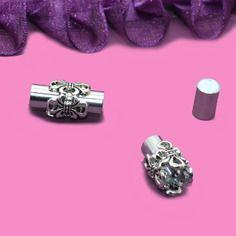Fermoir aimanté pour cordon 5mm couleur argent motif lys