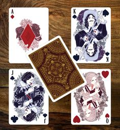 D'Artagnan as the King of Spades   Milady de Winter as the Queen of Hearts   Duke of Buckingham as the Jack of Clubs - playing cards, illustration, design