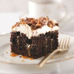 Toffee Poke Cake Recipe -This recipe is my family and friends very favorite dessert. I love making it because it is so simple.—Ms. Jeanette Hoffman, Oshkosh, Wisconsin