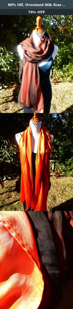"""80% Off, Oversized Silk Scarf, Silk Shawl, Evening Shawl, Handmade. Silk Charmeuse has that beautiful """"shiny"""" finish. It is the common idea when we talk about silk. Chiffon silk is soft, light, diaphanous with a nice texture. This breath-taking silk evening wrap combines silk charmeuse and crepe chiffon together, which makes it versatile in styling. ❥ 80% off due to tiny spots of discoloration, defects from the dye lot, barely noticeable (last picture) ❥ 100% Luxury mulberry silk ❥ Can be..."""