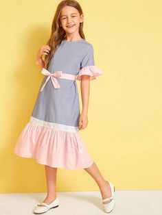Girls Colorblock Ruffle Trim Belted Dress - Girls Colorblock Ruffle Trim Belted Dress – gagokid Source by ribeiropleni - Dress For Girl Child, Cute Girl Outfits, Little Girl Dresses, Kids Outfits, Girls Dresses, Belted Dress, The Dress, Baby Dress, Girls Fashion Clothes