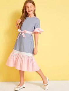 Girls Colorblock Ruffle Trim Belted Dress – gagokid