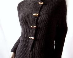 Women's Knit Jacket  Merino Wool Cardigan Hand Knit  Sweater Coat