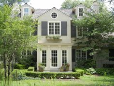 exterior colors we talked about (cream house, white trim, gray shutters) **