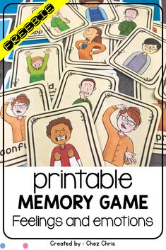 Memory card games are great for kids to review and learn vocabulary. This matching activity is on feelings and emotions (happy, sad, scared, shy, nervous ...) and can be used at elementary or middle school. ESL students also love that game for pronunciation. It is a freebie but you will see there are so many other memory games available on different themes (animals school sport harry potter ...) Easy to print ; tips included . Free printable. Memory à imprimer. Gratuit.