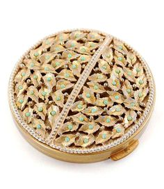 Vintage Gold Compact Mirror, Powder Compact, Purse Compact, Gold Leaf Compact, Turquiose Bead Compact, 1950s 1960s