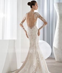 Fashion High Neck Lace Embroidered Sheath Organza Wedding Dress with Long Sleeves