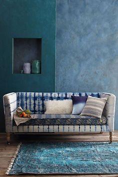 Hand-Dyed Shibori Sofa