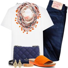 Orange & Navy by jessicagreene123 on Polyvore featuring Yves Saint Laurent, Levi's, Munro American, Kate Spade, Linea Pelle and Badgley Mischka