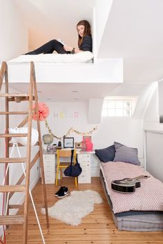 Not all homes have the height necessary for a mezzanine or loft, but it's a great idea for those that do. Even a small sleeping loft or reading nook can give that much-needed personal space (no matter your age), as seen in this teen's room from French By Design.