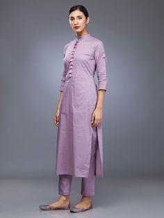 Purple Peach Golden Foil Printed Cotton Suit - Set of 3 Cotton Suit, All About Fashion, Asian Fashion, Printed Cotton, Kurti, Bag Accessories, Embroidery Designs, Duster Coat, Saree
