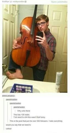 """What's funny, is I said """"Well cello there."""" in a seductive tone, before I even clicked on it and saw that someone else beat me to it. HA! xD"""