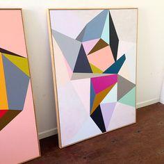 Original geometric artwork on board by LouisedeWegerdesigns