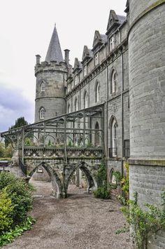 Rear entrance to Inveraray Castle, Inveraray, Argyll, Scotland, UK