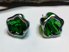 2 Lampwork Transparent Christmas Green Flower Charms - Medium Size Flower Beads - Made to Order by Molten Wrx