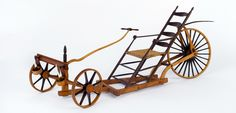 """Roy Superior, """"Shaker Dragster"""" 1984, wood, metal, leather, wax, string, 9.75 x 24 x 8.75"""". (Allan Stone Collection)"""